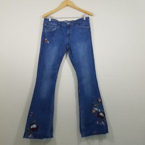 Zara Embroidered Floral Boot Cut Jeans Size 12